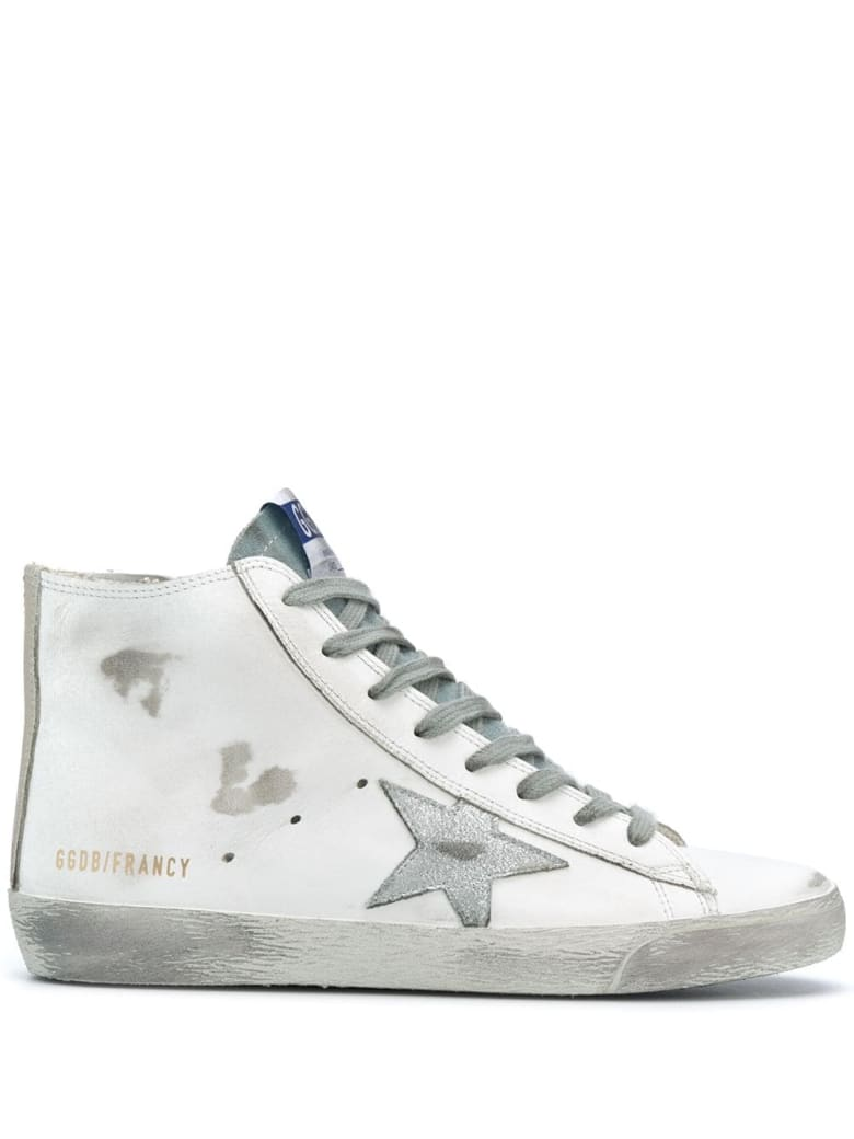 Golden Goose Woman White Francy Sneakers With Silver Laminated Star