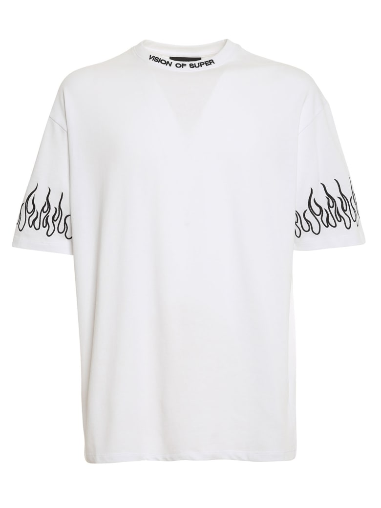 Vision of Super Tshirt Embroidered Black Flame - White