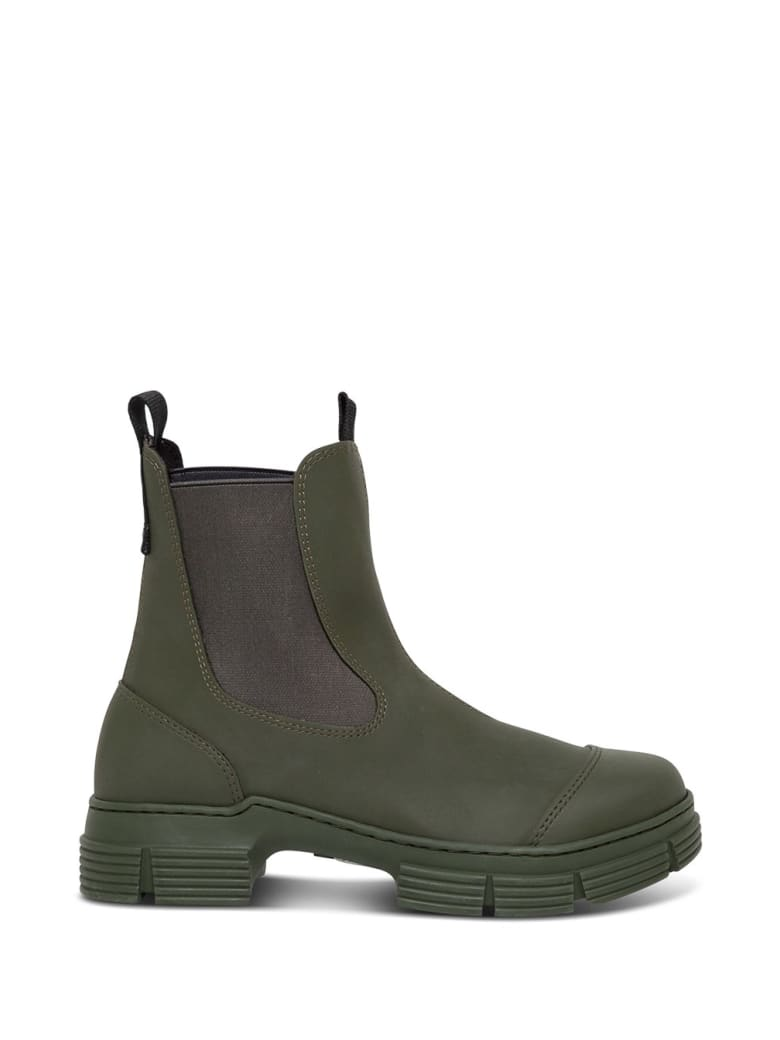Ganni Green Boots In Recycled Rubber - Green