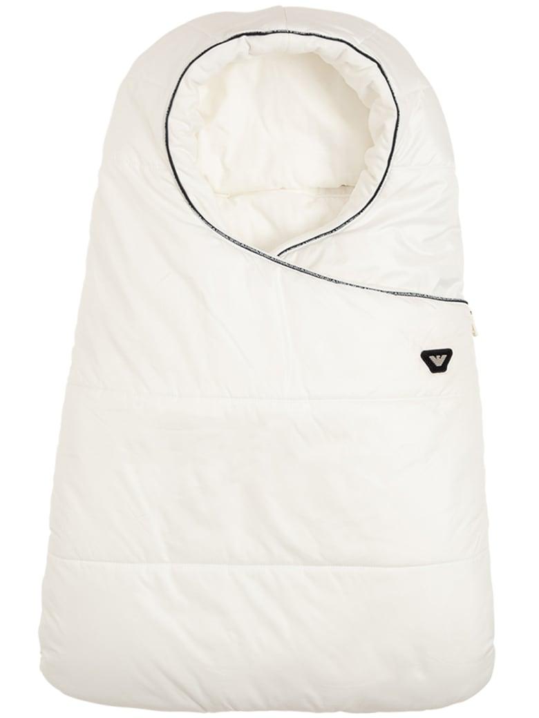 Emporio Armani White Nylon  Padded Blanket  With Logo - White