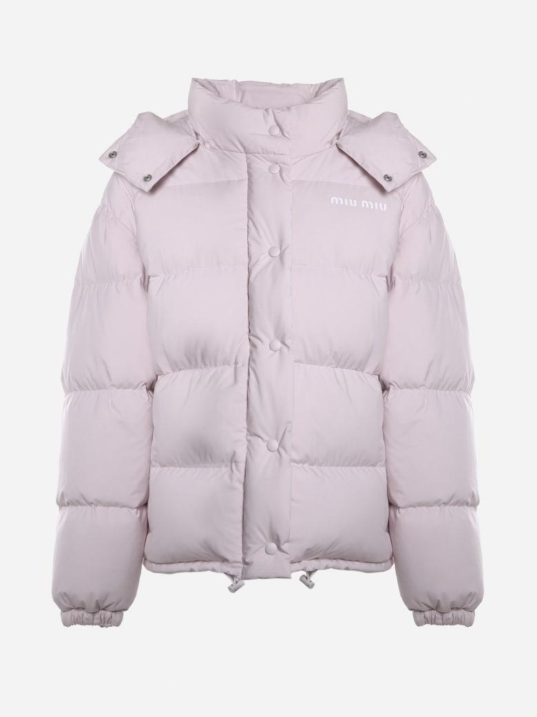 Miu Miu Padded Down Jacket Made In Pongé Tec - Quartz
