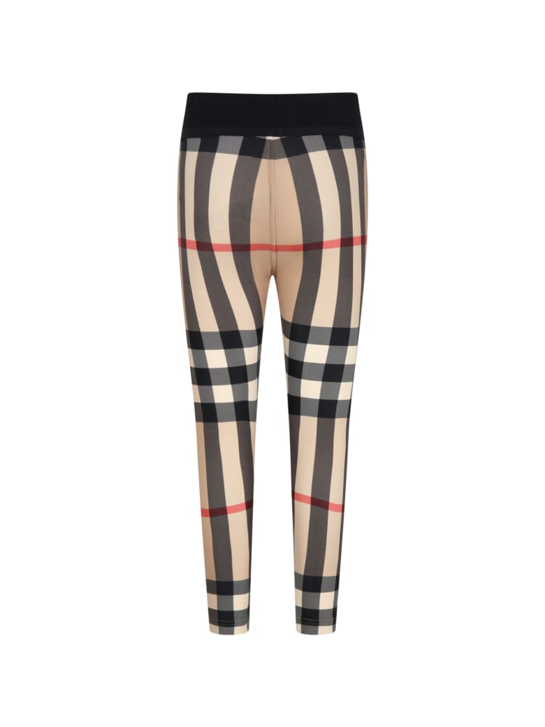 Burberry Beige Leggings For Girl With Check Vintage - Beige