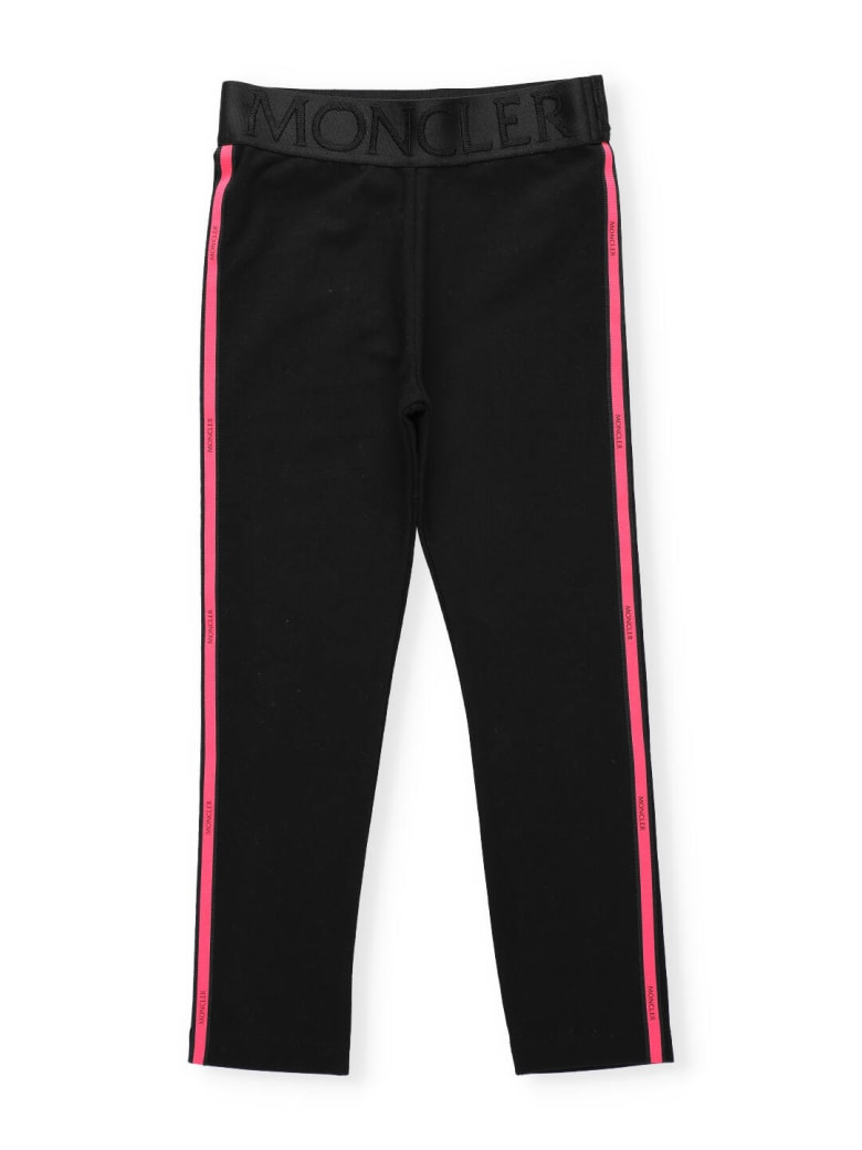 Moncler Cotton Pants With Loged Band - BLACK