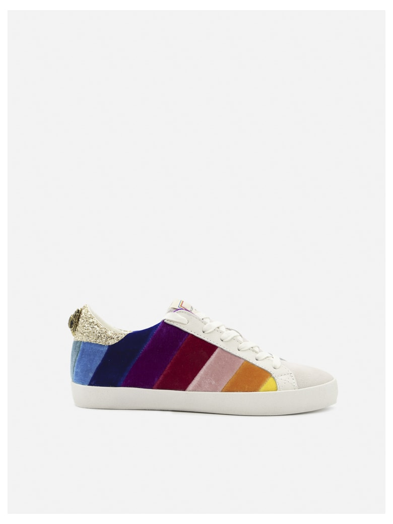 Kurt Geiger Lexi Eagle Sneakers With Glittery Heel Tab - White