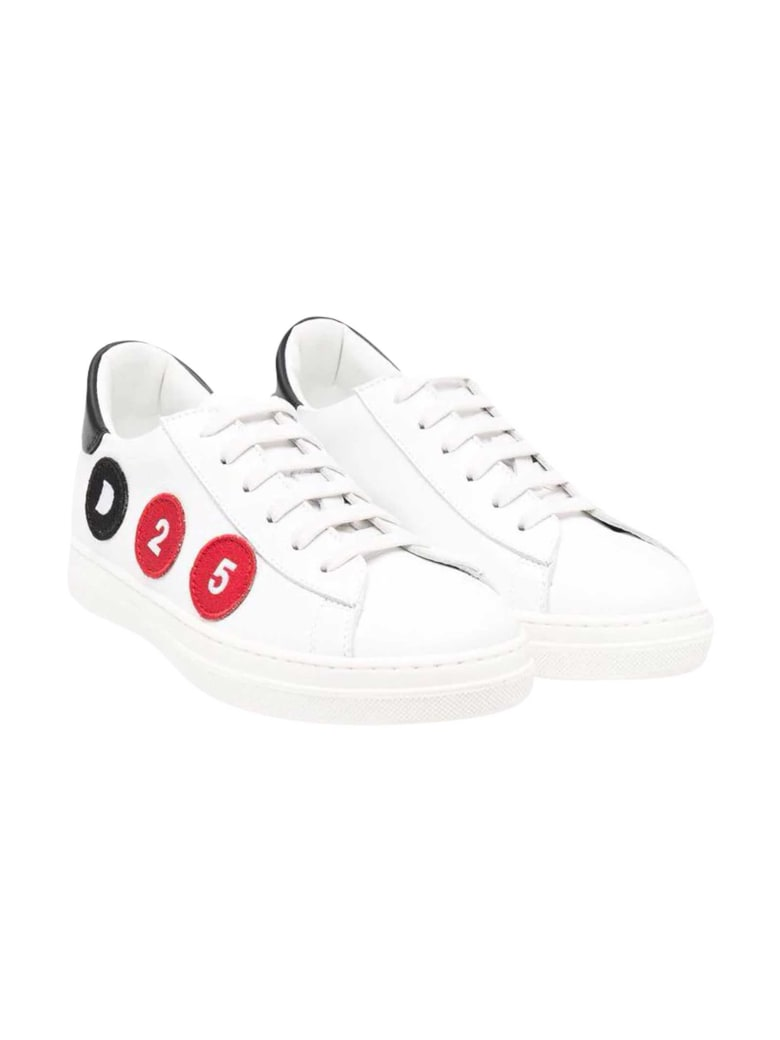 Dsquared2 White Sneakers With Dsquared Kids Applications - Unica