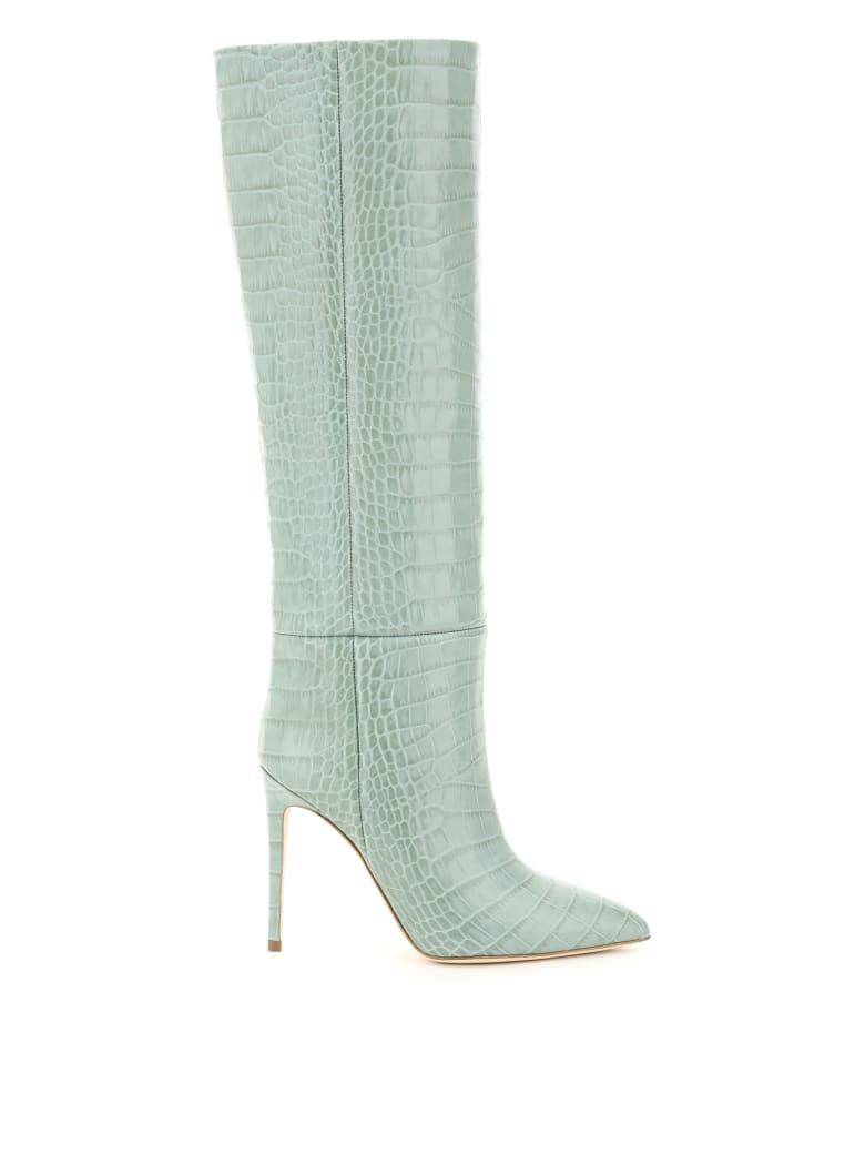 Paris Texas Crocodile Print Stiletto Boots - Grigio