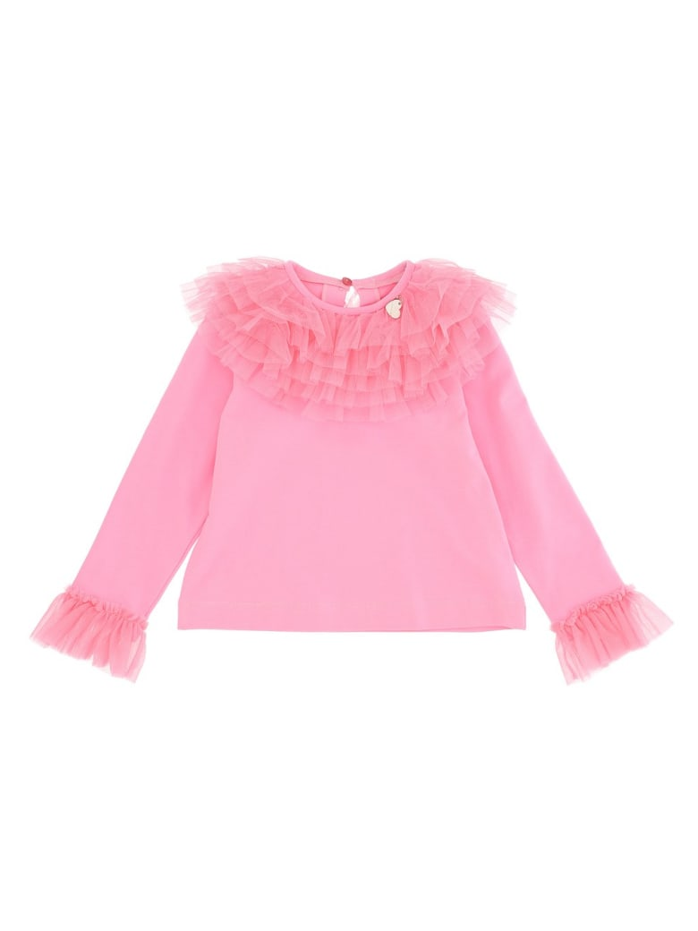 Monnalisa T-shirt With Galette Tulle - Pink