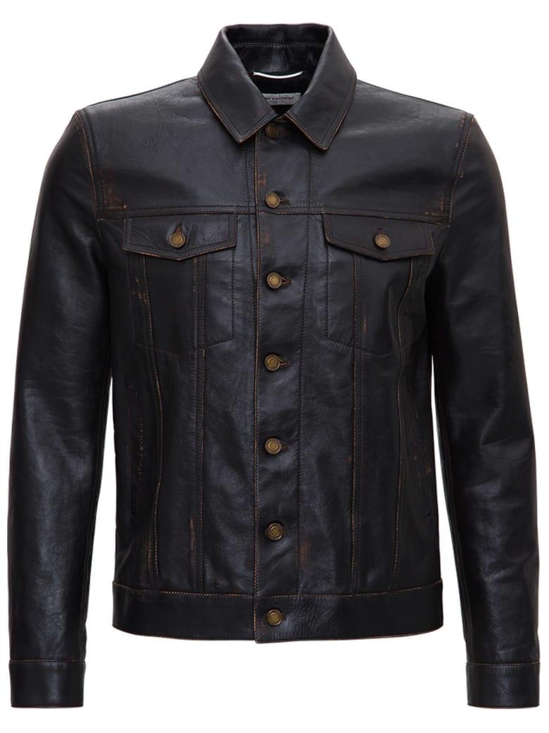 Saint Laurent Aged Leather Jacket - Brown