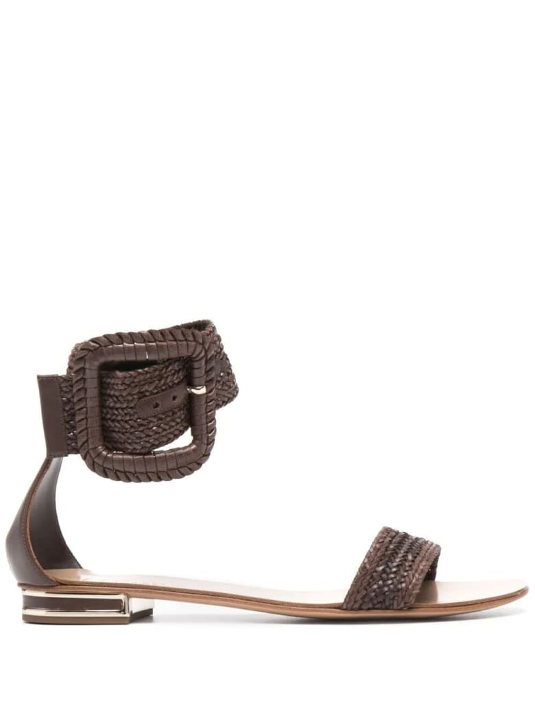 Casadei Low Sandal In Brown Hanoi With Maxi Buckle - Marrone
