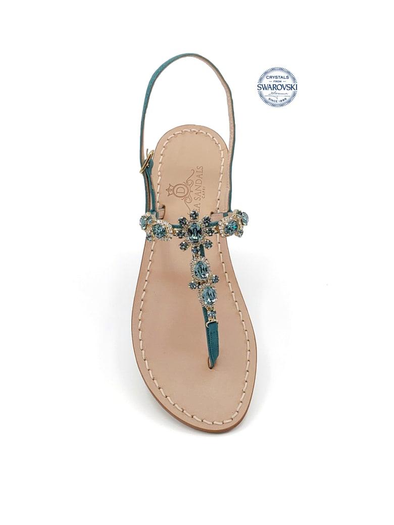 Dea Sandals Via Krupp Jewel Flip Flops Sandals - petrol blue, crystal
