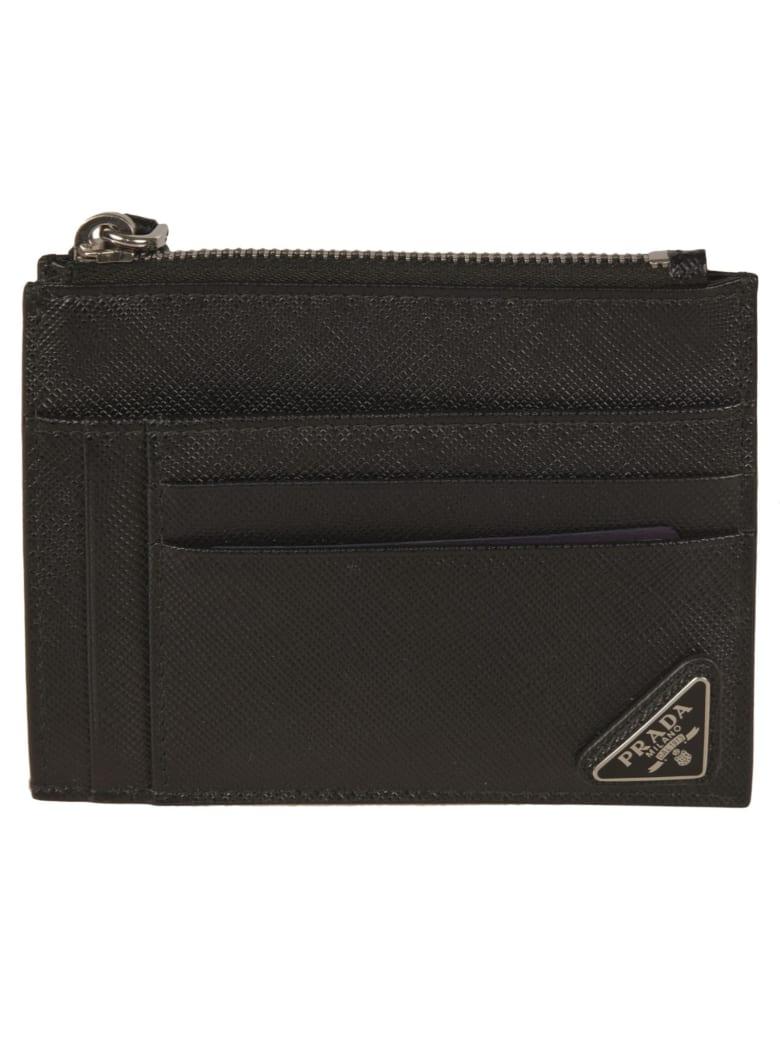 Prada Logo Plaque Zip Card Holder - Black