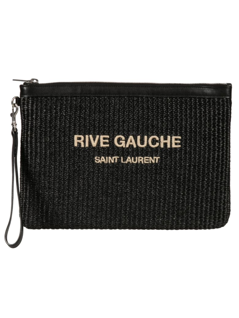 Saint Laurent Top Zip Knit Logo Clutch - Black