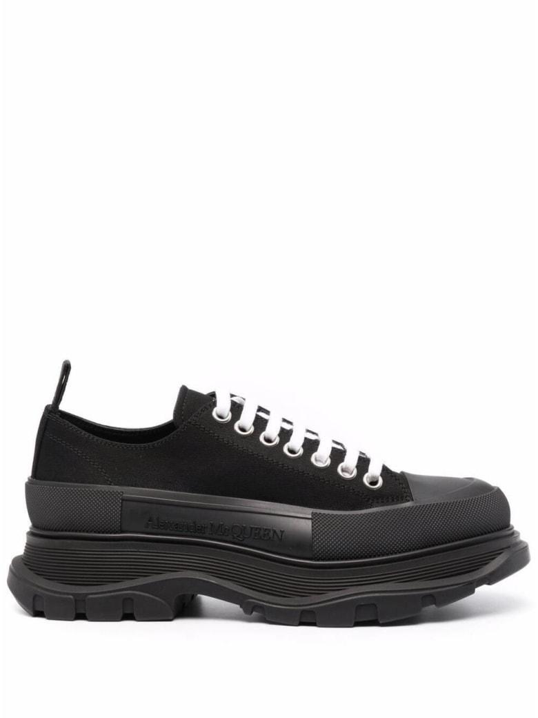 Alexander McQueen Black Traead Slick Cotton Sneakers - Black