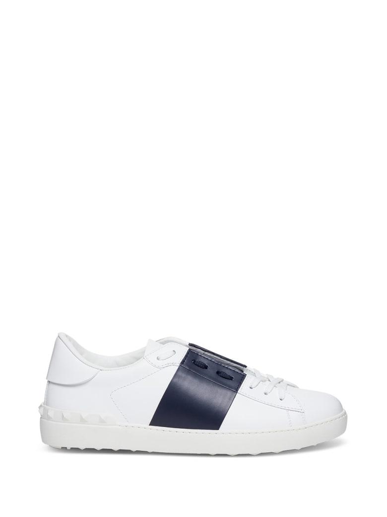 Valentino Garavani Open Sneakers In White And Blue Leather - White