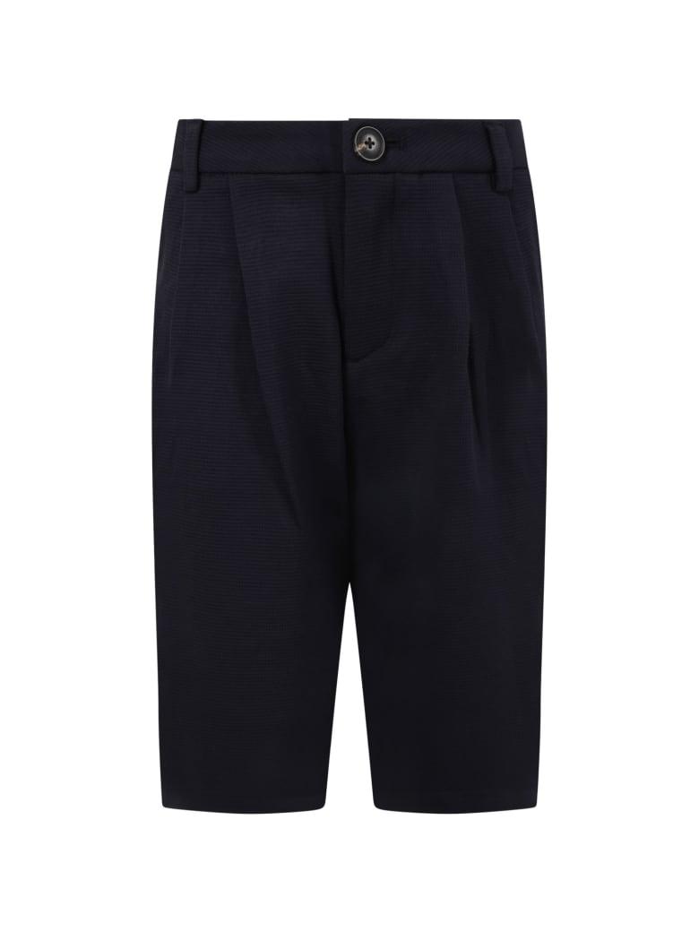 Armani Collezioni Blue Short For Boy With Logo - Blue