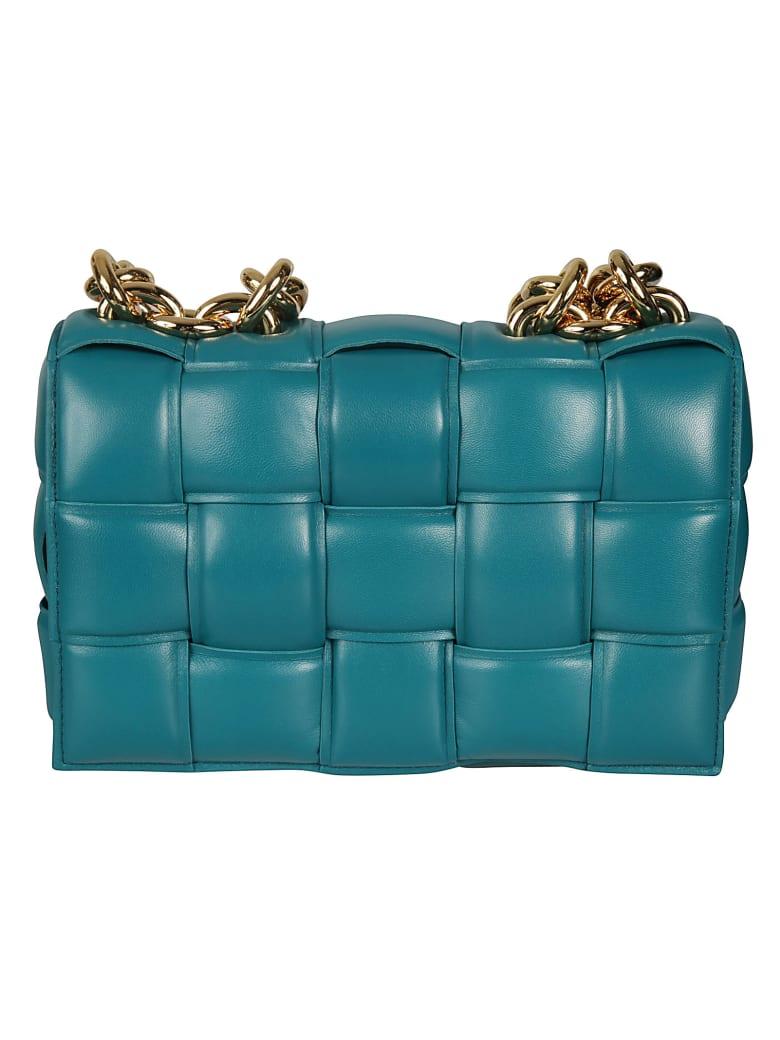 Bottega Veneta Woven Flap Chain Shoulder Bag - Light Blue