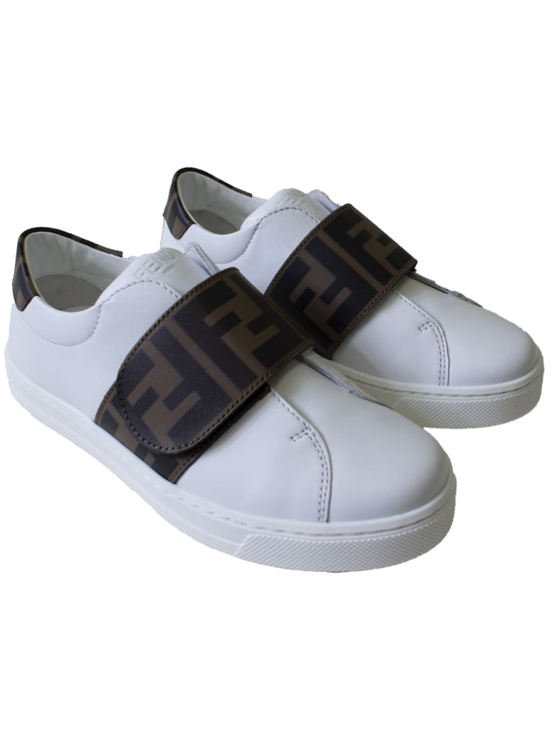 Fendi Kids Sneakers - A Bianco Tabacco Nero