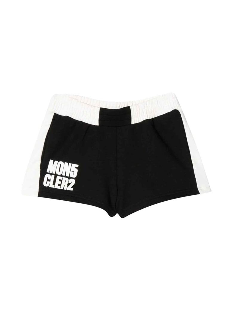 Moncler Black Shorts With White Logo Press - Nero