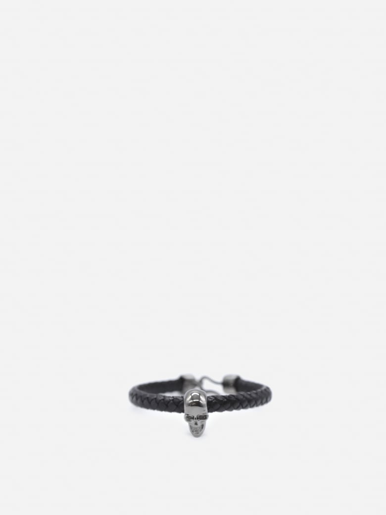 Alexander McQueen Leather Bracelet With Maxi Skull - Black, silver