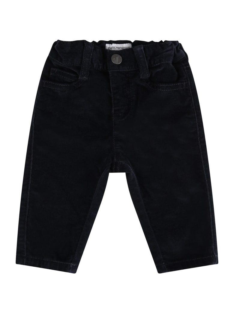 Armani Collezioni Blue Pants For Babyboy With Iconic Eagle - Blue