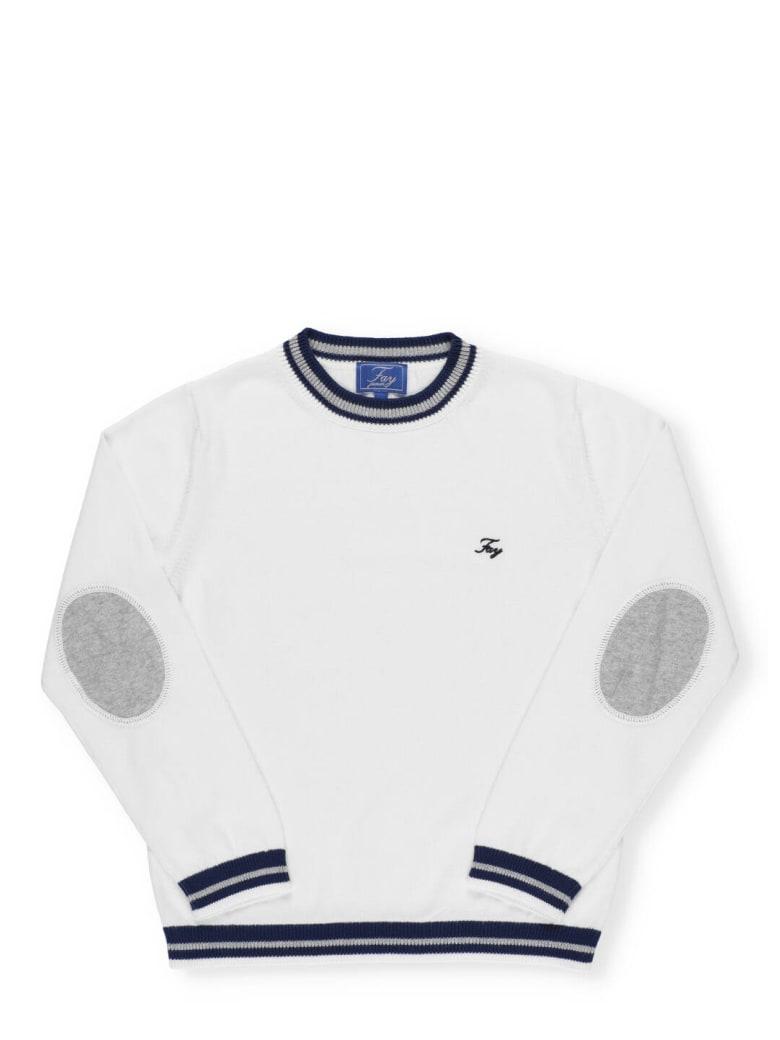 Fay Embroidered Logo Jumper - Bianco/blu