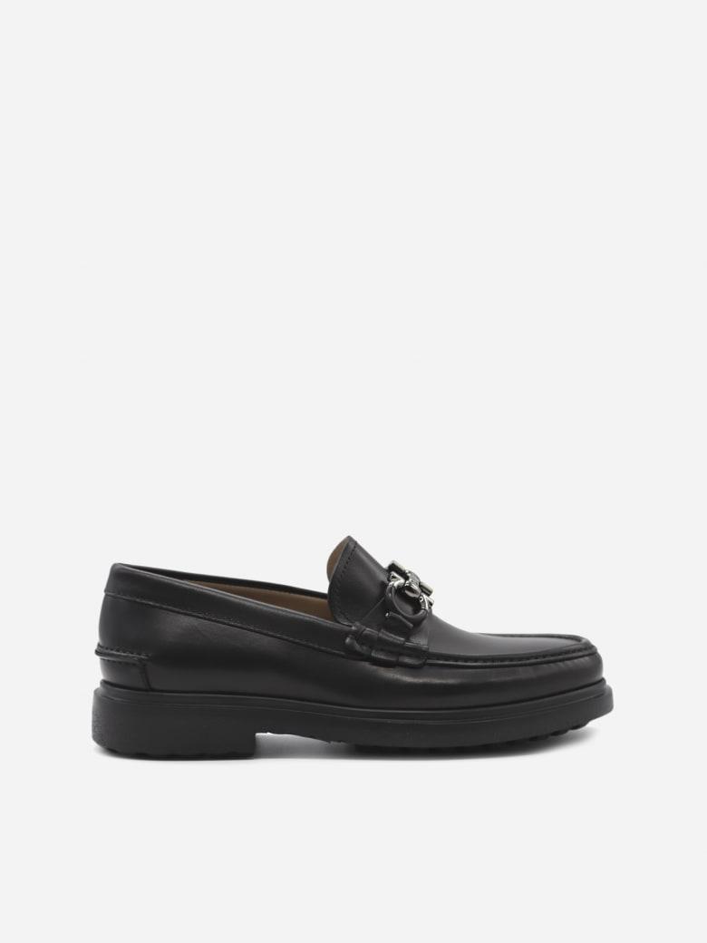 Salvatore Ferragamo Gancini Leather Loafers - Black