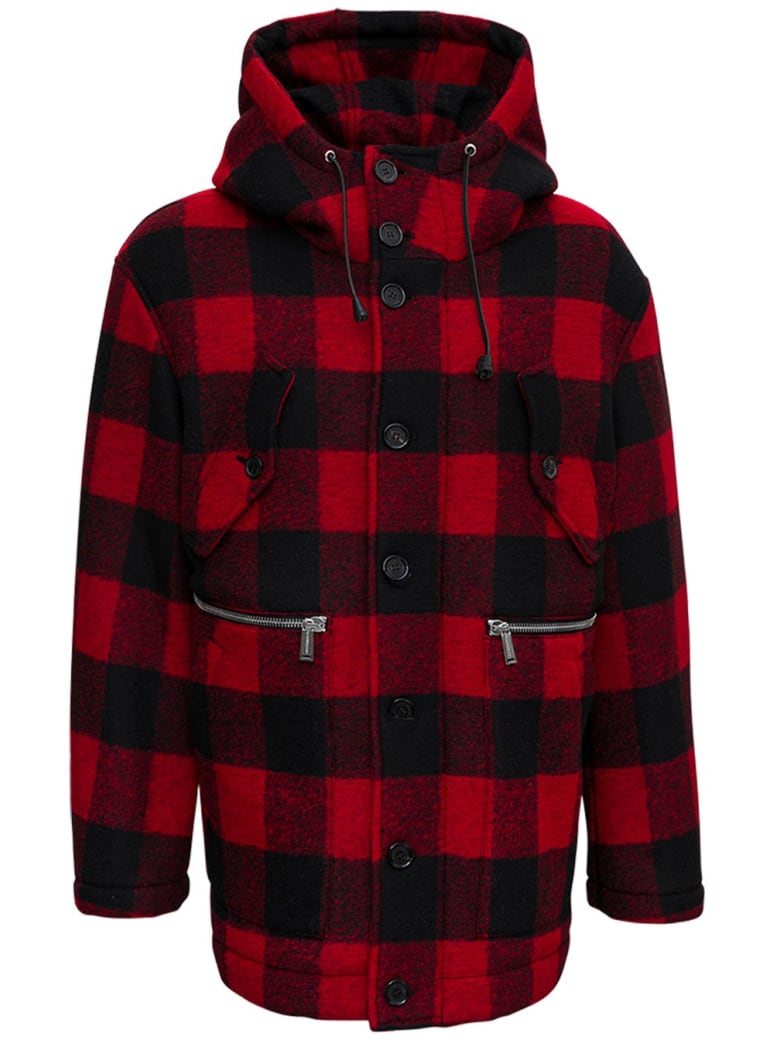 Dsquared2 Wool Check Jacket - Red