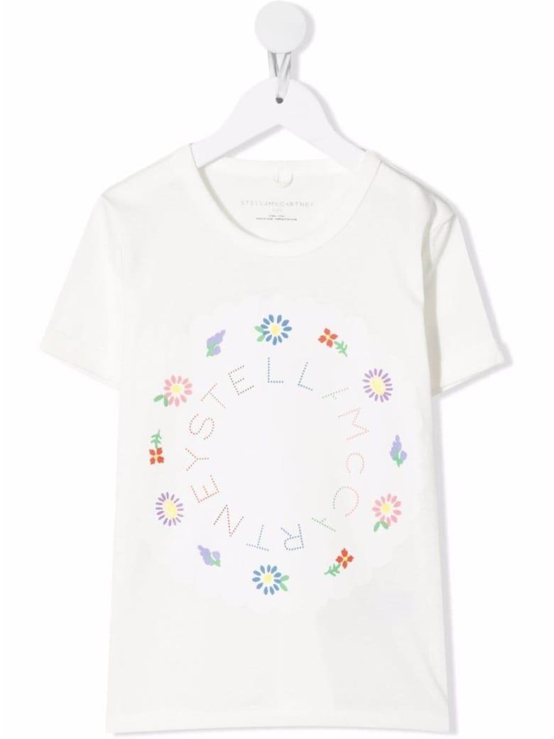 Stella McCartney Kids Cotton T-shirt With Floral Logo Print - White