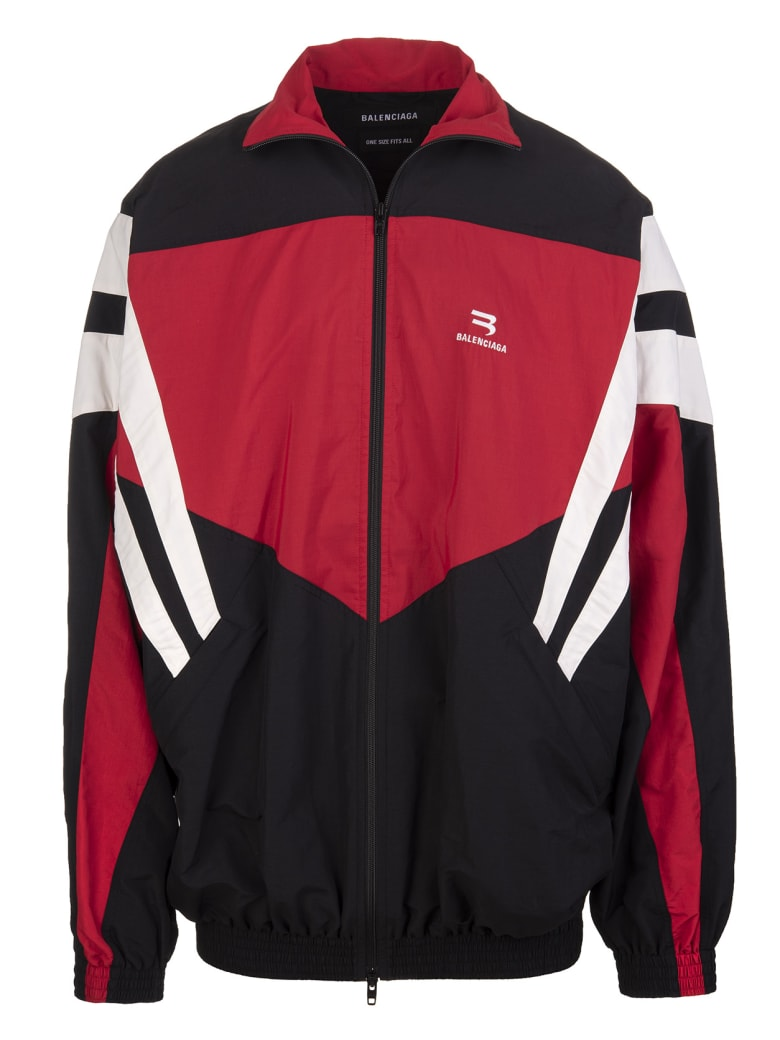Balenciaga One Size Tracksuit Jacket In Black, Red And White - Black