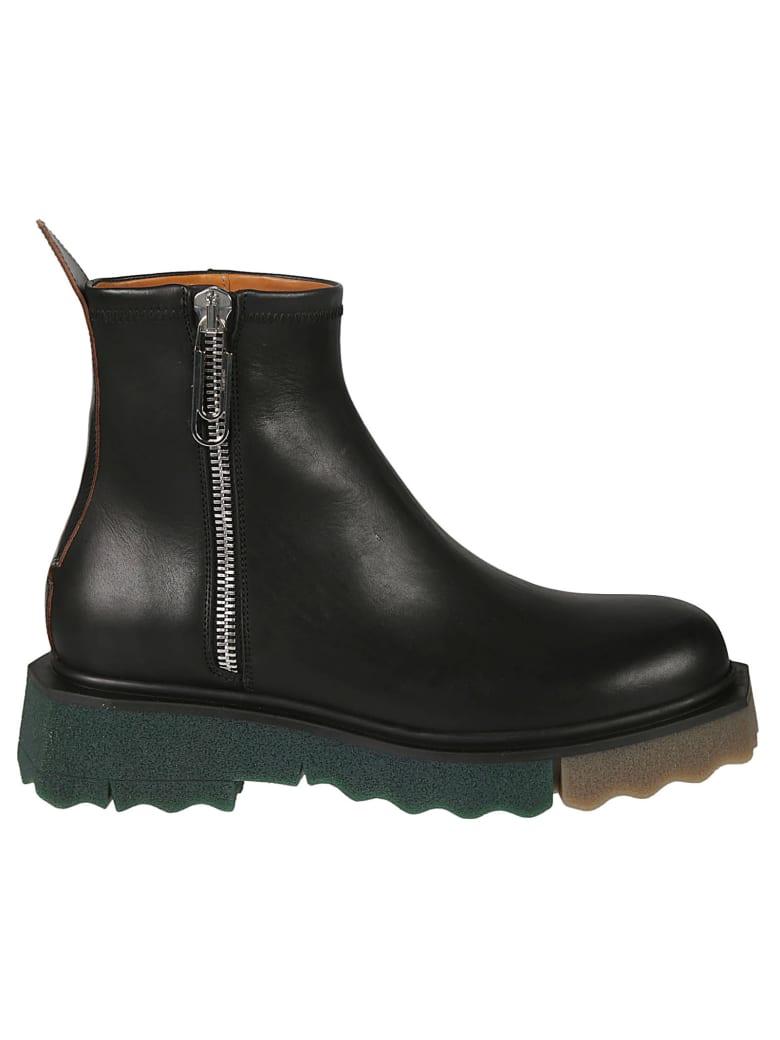 Off-White Sponge Sole Leather Zip Boots - Black
