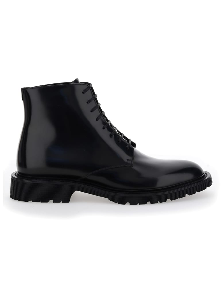 Saint Laurent Laced Boots In Smooth Leather - Nero