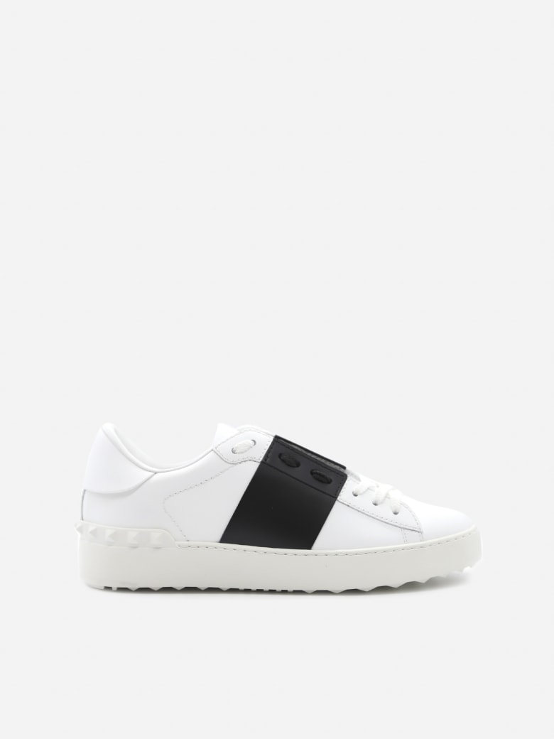 Valentino Garavani Open Sneakers In Leather With Contrasting Colored Band - White