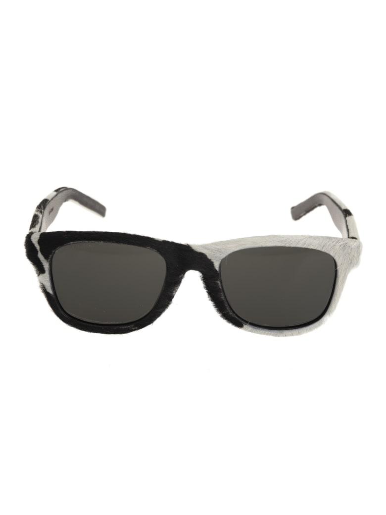 Saint Laurent Classic Sl 51 Sunglasses In Calf Hair - Bianco/nero