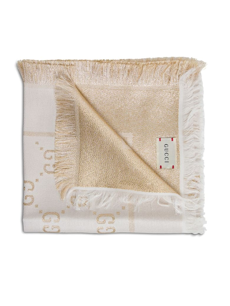 Gucci Scarf With Gg Lamé Logo - Beige