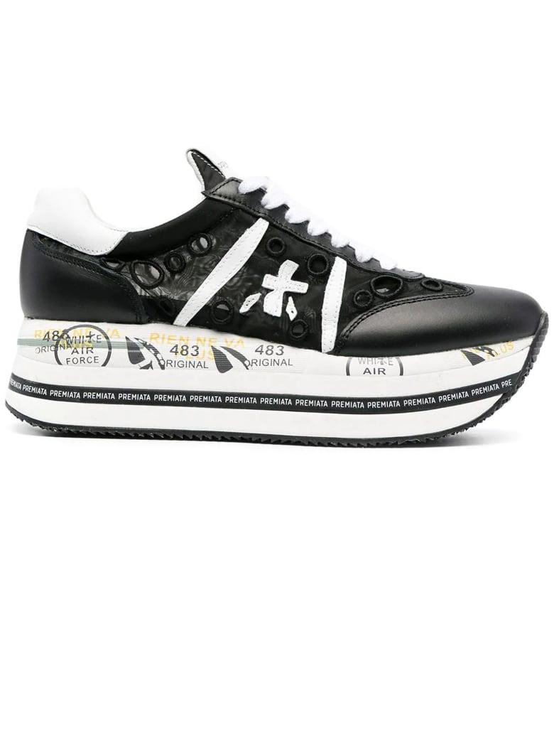 Premiata Black Leather Beth Sneakers - Nero