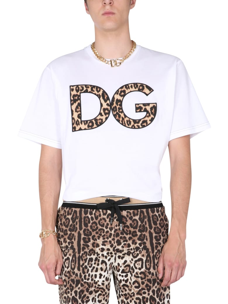 Dolce & Gabbana T-shirt With Leopard Patch - BIANCO