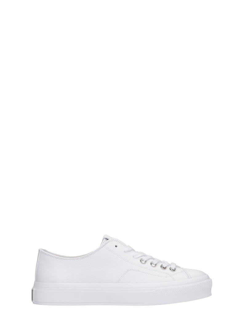 Givenchy City Low Sneakers In White Leather - white