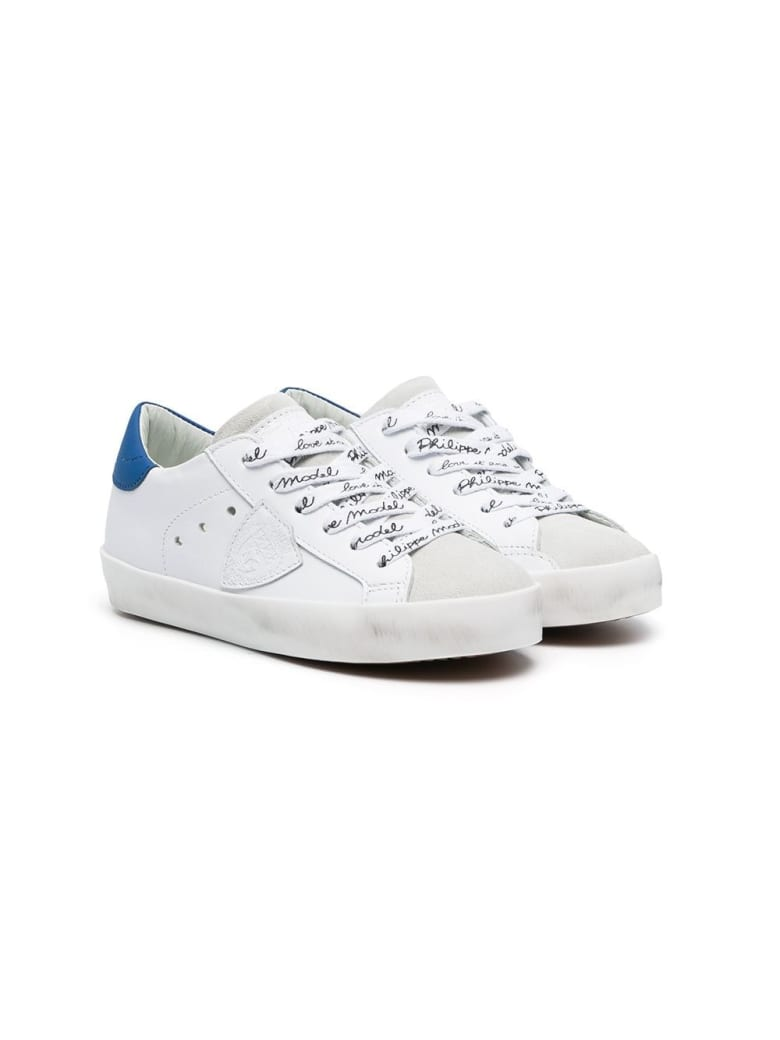 Philippe Model White Leather Paris Low Jr Sneakers - White