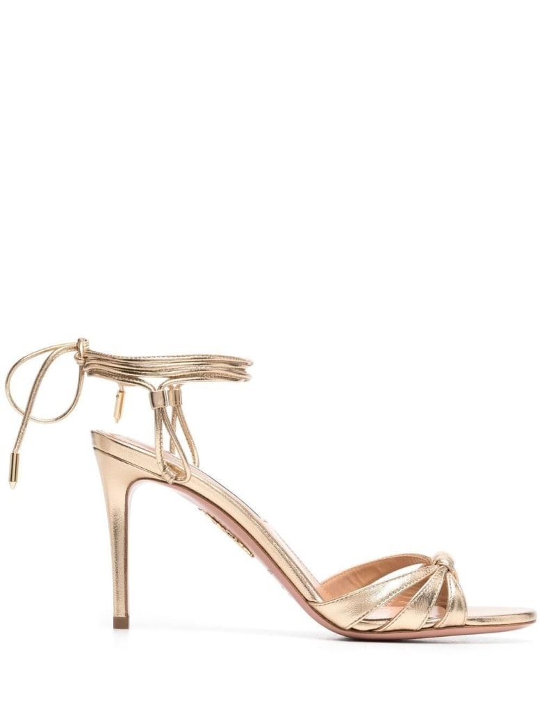 Aquazzura Golden Leather  Sole Sandals - Metallic