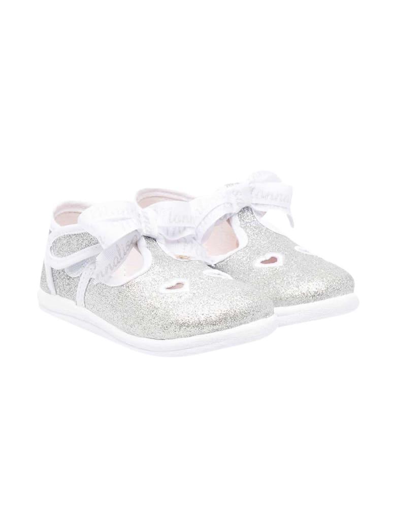 Monnalisa Glitter Silver Ballet Flats - Argento