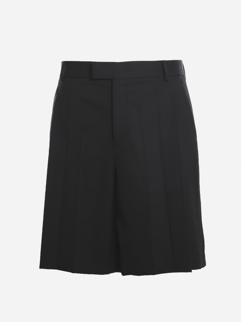 Valentino Shorts Made Of Technical Wool With Pleats - Black