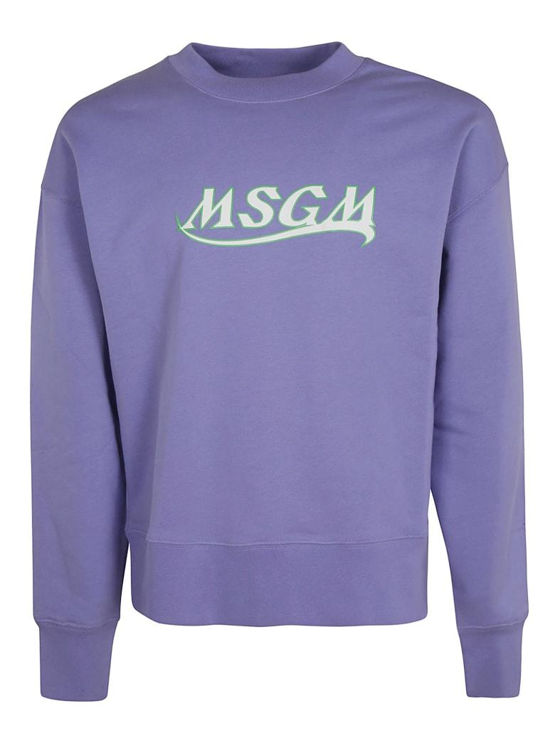 MSGM Chest Logo Print Sweatshirt - Lavender