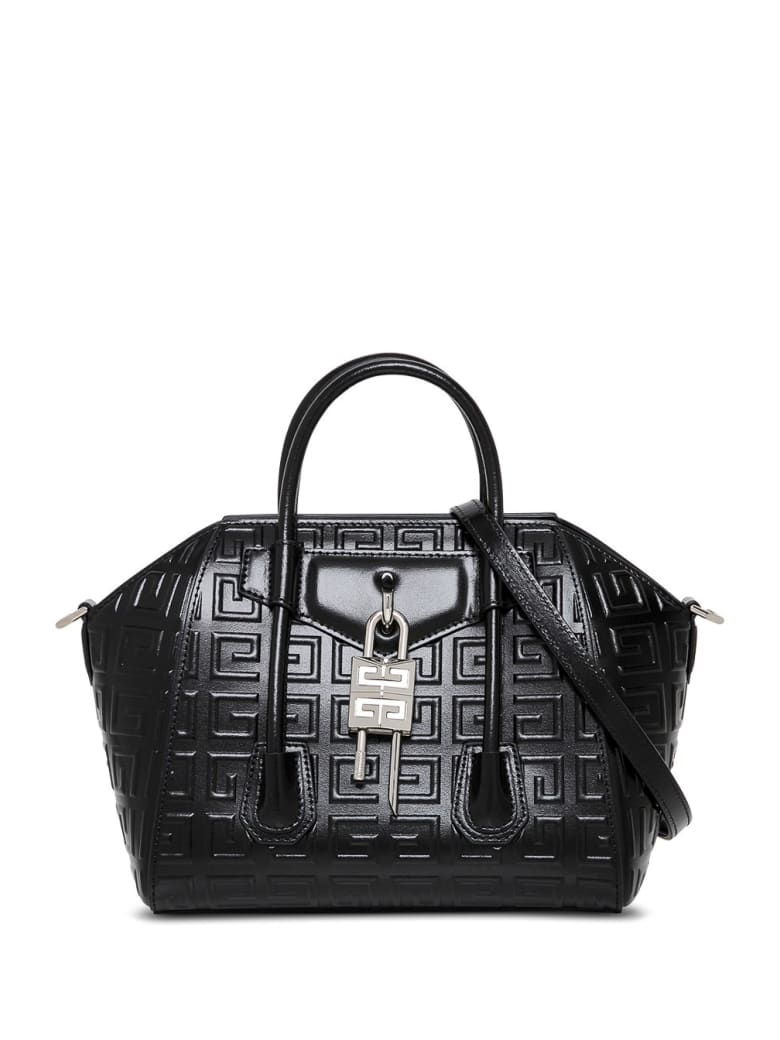 Givenchy Antigona Lock Handbag In 4g Black Leather - Black