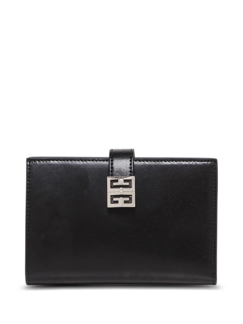 Givenchy Leather Bifold Wallet With 4g Buckle - Black