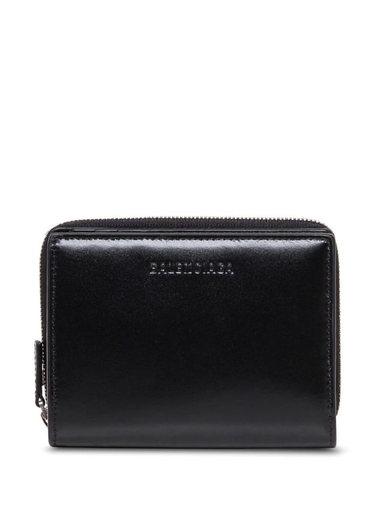 Balenciaga Black Leather Bifold Wallet With Logo - Black