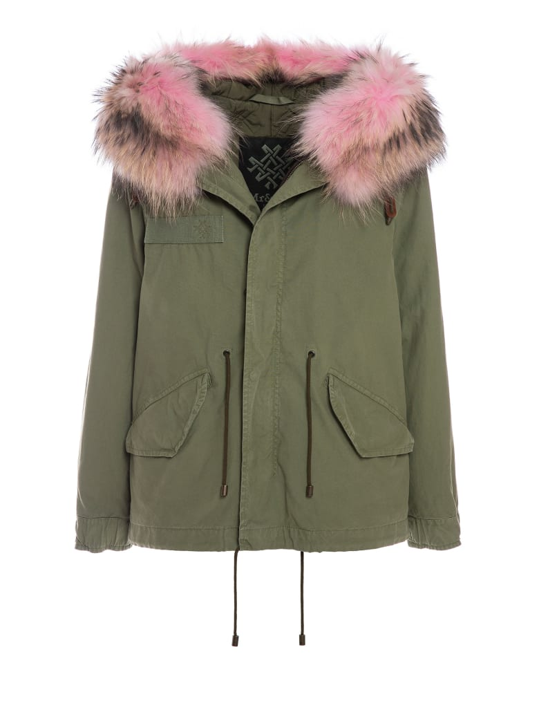 Mr & Mrs Italy Exclusive Fw20 Icon Parka: Army Jazzy Mini Parka Raccoon Fur - ARMY / ARMY / PANTER PINK