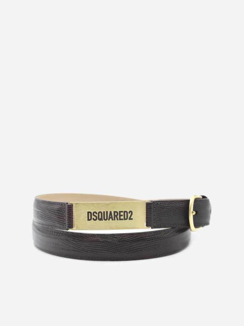 Dsquared2 Embossed Leather Belt With Logo Plate - Dark brown