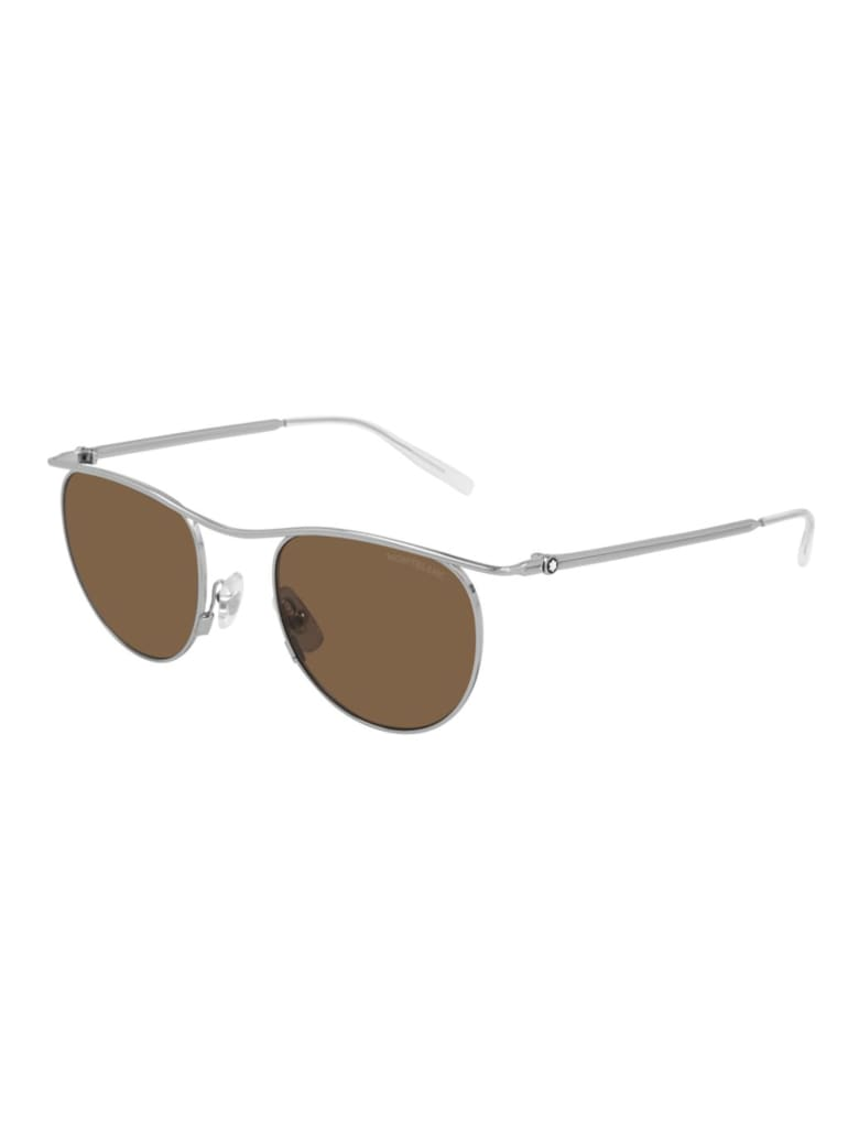 Montblanc MB0168S Sunglasses - Silver Silver Brown