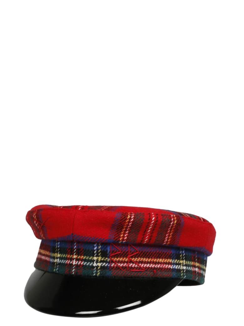Ruslan Baginskiy Monogram Embroidered Tartan Baker Boy Hat - Red