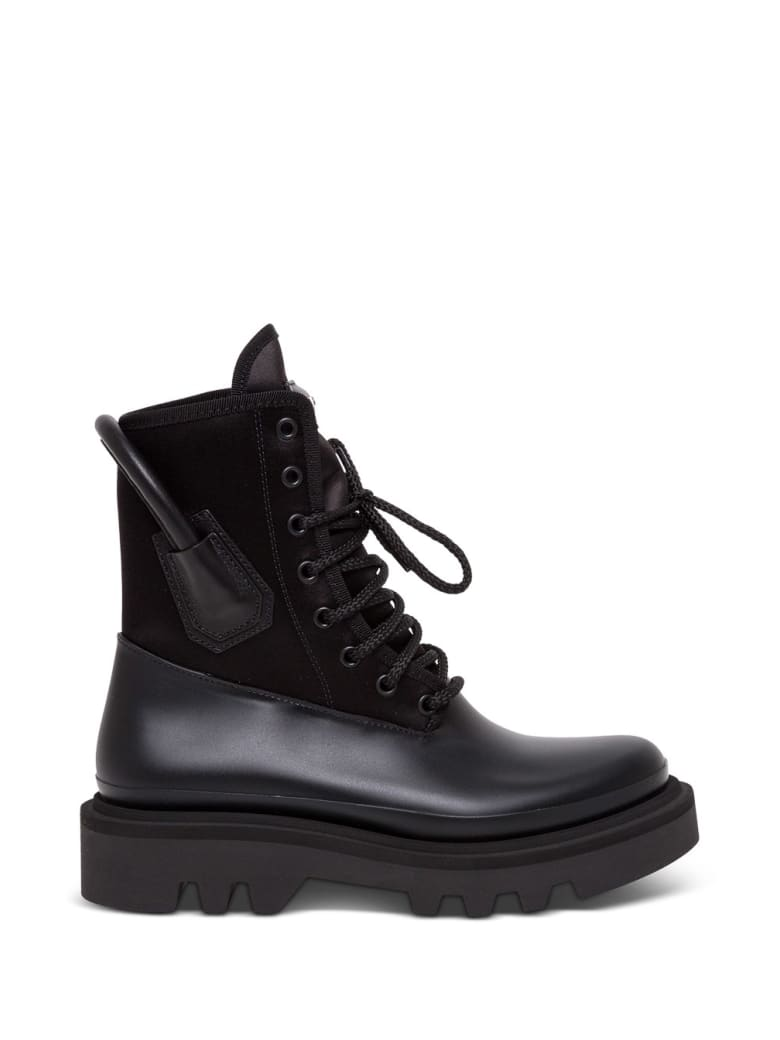 Givenchy Rubber And Leather Combat Black Boots - Black